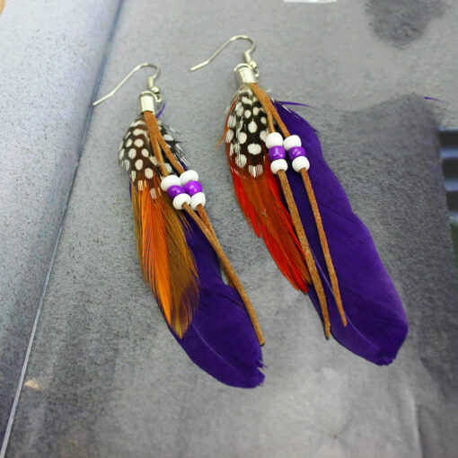 feather bead earring