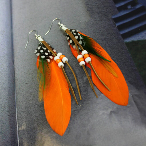 feather bead earing