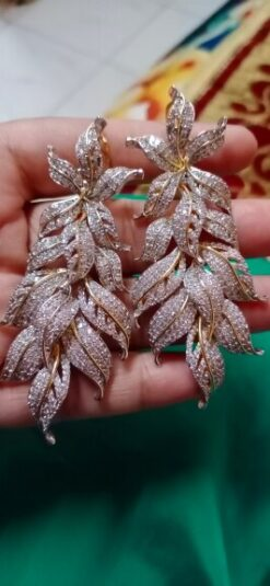 Exclusive Leaf Cubic Zircon Earrings