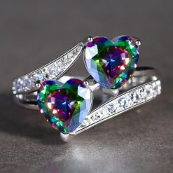 Twin Hearts Rainbow Zircon Ring in Rhodium Plating