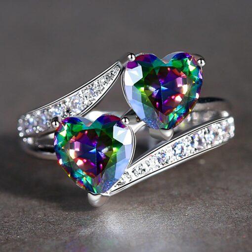Twin Hearts Rainbow Zircon Ring in Rhodium Plating