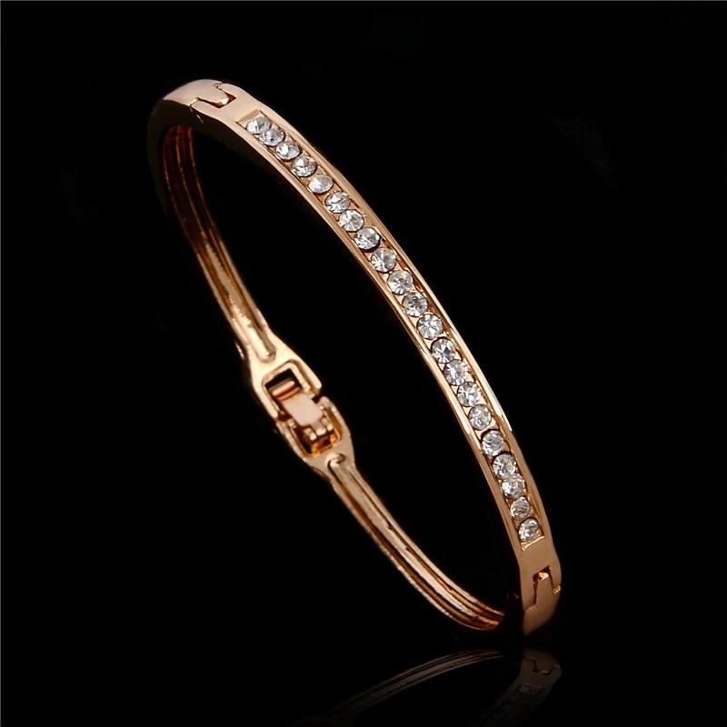 Austrian Crystal Classic Lady's Closed Bangle Bracelets