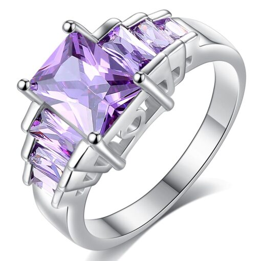 Beiver 2018 New Fashion Purple Princess cut AAA Cubic Zirconia Wedding Brand Rings for Women Silver Color Jewelry Best Gifts