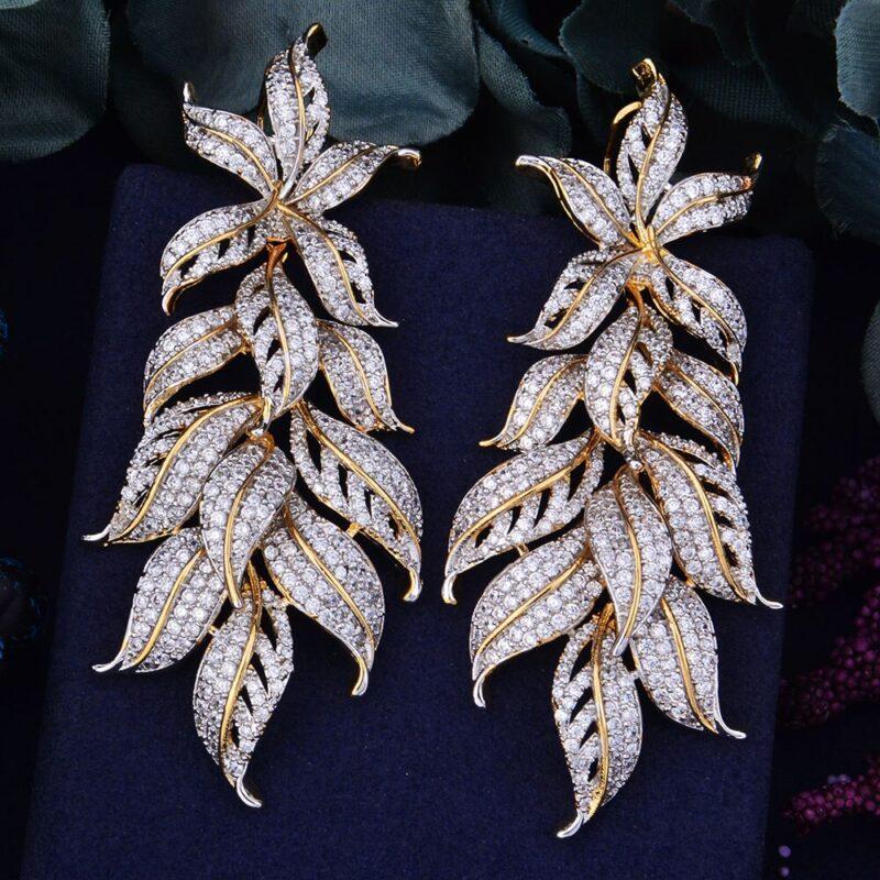 Exclusive Leaf Cubic Zircon Earrings