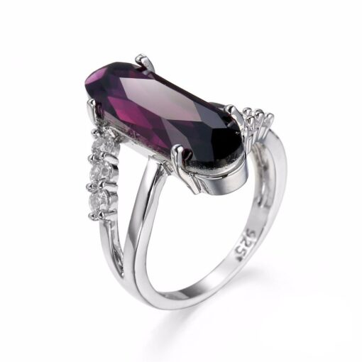 925 Sterling Silver Ring with Purple Zircon