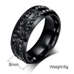 8MM Black Titanium Steel Men's Ring With Cubic Zirconia