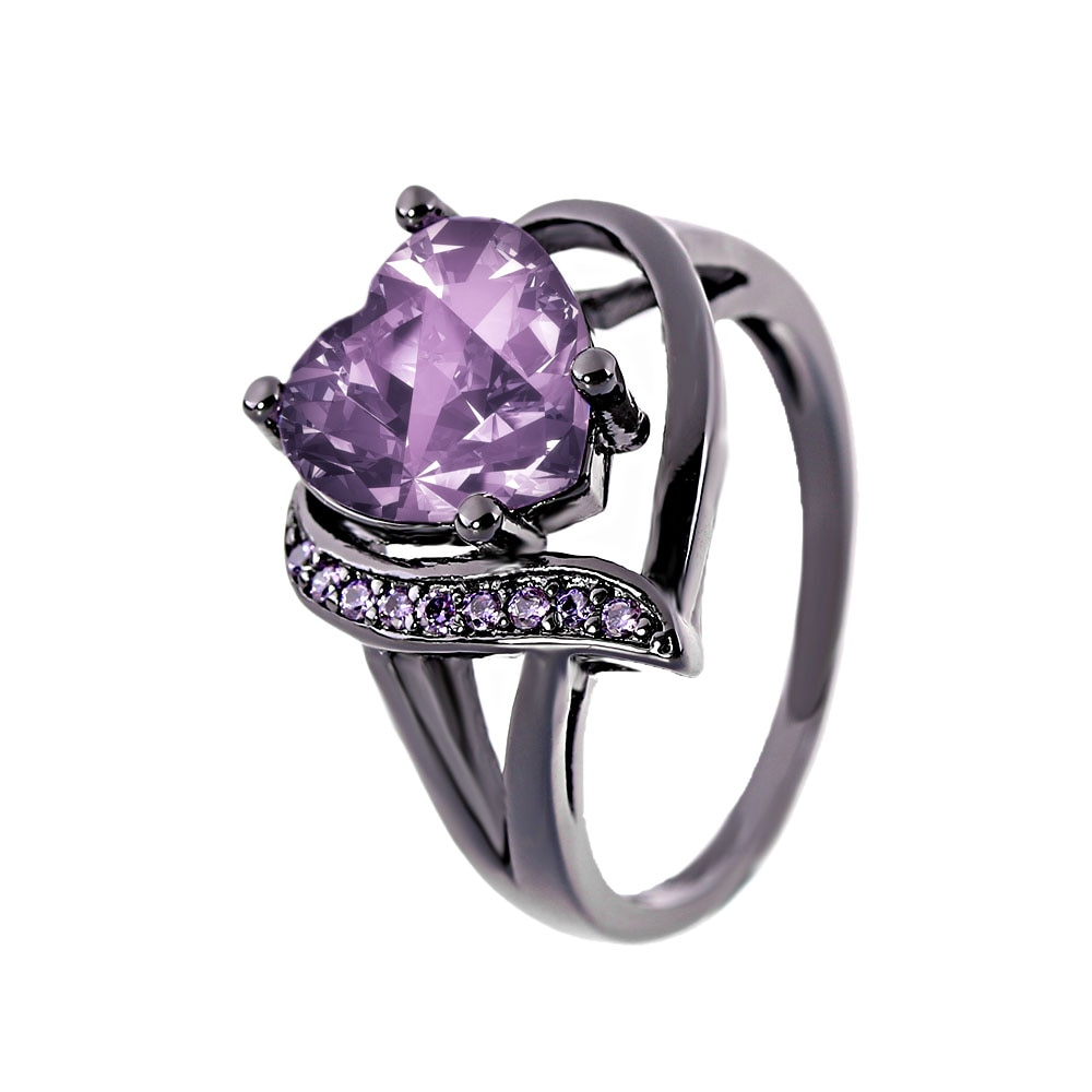 Love Heart Ring With Purple Crystal Zircon and Black Gun Plating