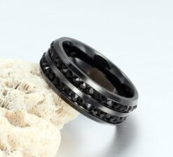 8MM Black Titanium Steel Men's Ring With Cubic Zirconia