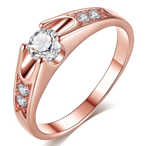 Rose Gold Color Assembly Anel Feminino Bijoux Aneis 0.5 Ct Engagement Ring Zirconia Jewelry Rings