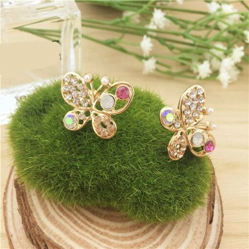 Colorful Rhinestone Gold Butterfly Stud Earrings
