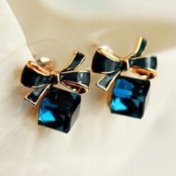 Crystal Blue Cube Box Studs