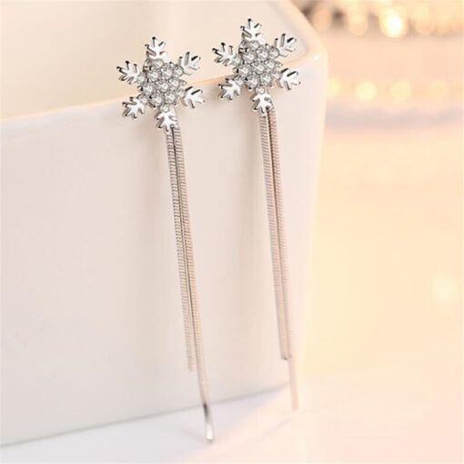 925 Sterling Silver Snowflake Hanging Style Earrings