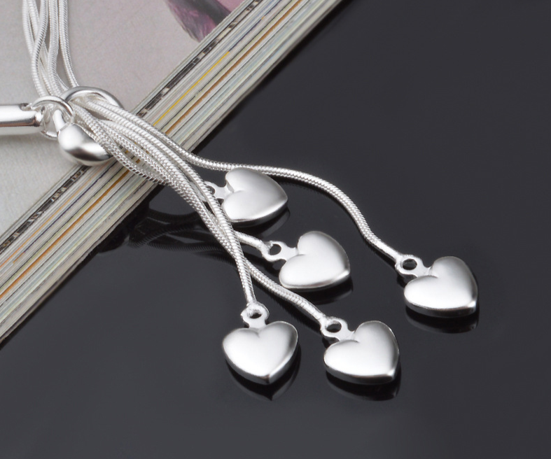 925 Silver Dangling Hearts Bracelet For Women