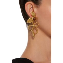 Flower & Metal Snake Earring