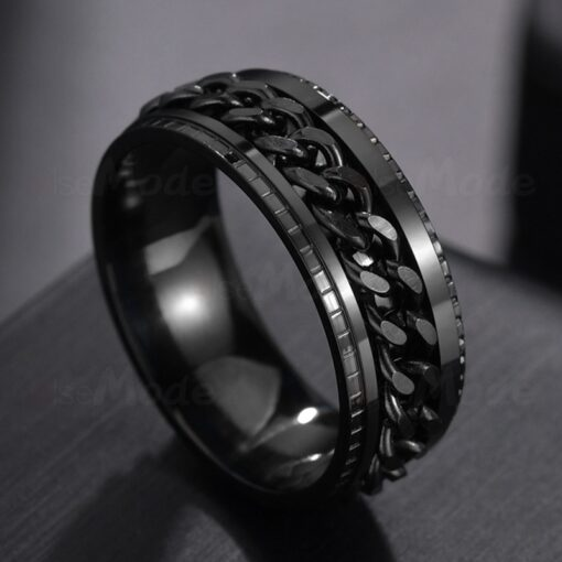 Punk 8mm Spinner Chain Ring For Men