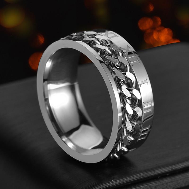 Punk 8mm Spinner Chain Ring For Men