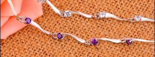 925 sterling silver Bracelet With Purple Crystals
