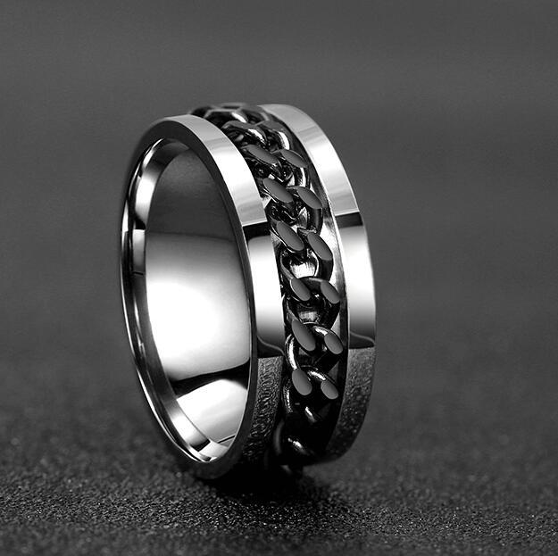Punk Rock Men Spinner Ring Titanium Stainless Steel