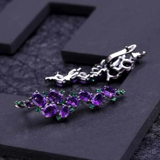 925 Sterling Sliver 9.78Ct Natural Amethyst Gemstone Clip Earrings