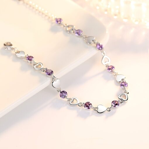 925 Sterling Silver Bracelet With Purple Crystal Heart Bracelet