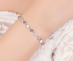925 Sterling Silver Bracelet With Purple Crystal Heart Bracelet