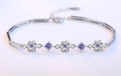 925 sterling silver bracelet high quality purple crystal flower