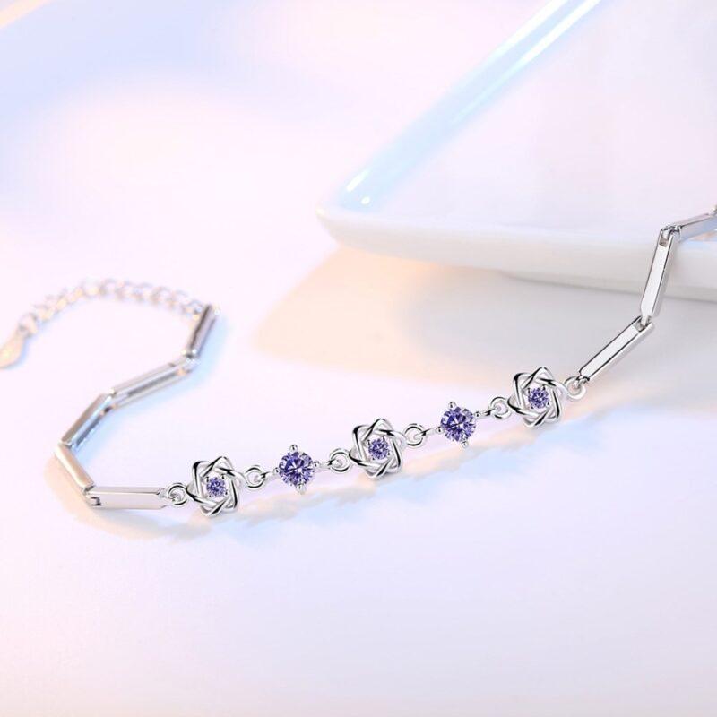 925 sterling silver bracelet high quality purple crystal flower