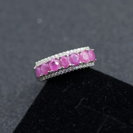 African natural Ruby ring 925 sterling silver 1.55ct red gemstone ring