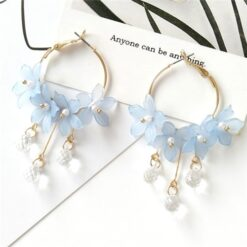 Acrylic Water Drop Crystal Flower Earrings