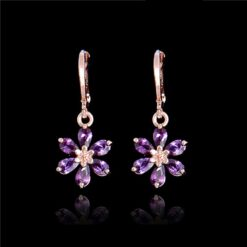 Cubic Zirconia Dangle Drop Flower Earring