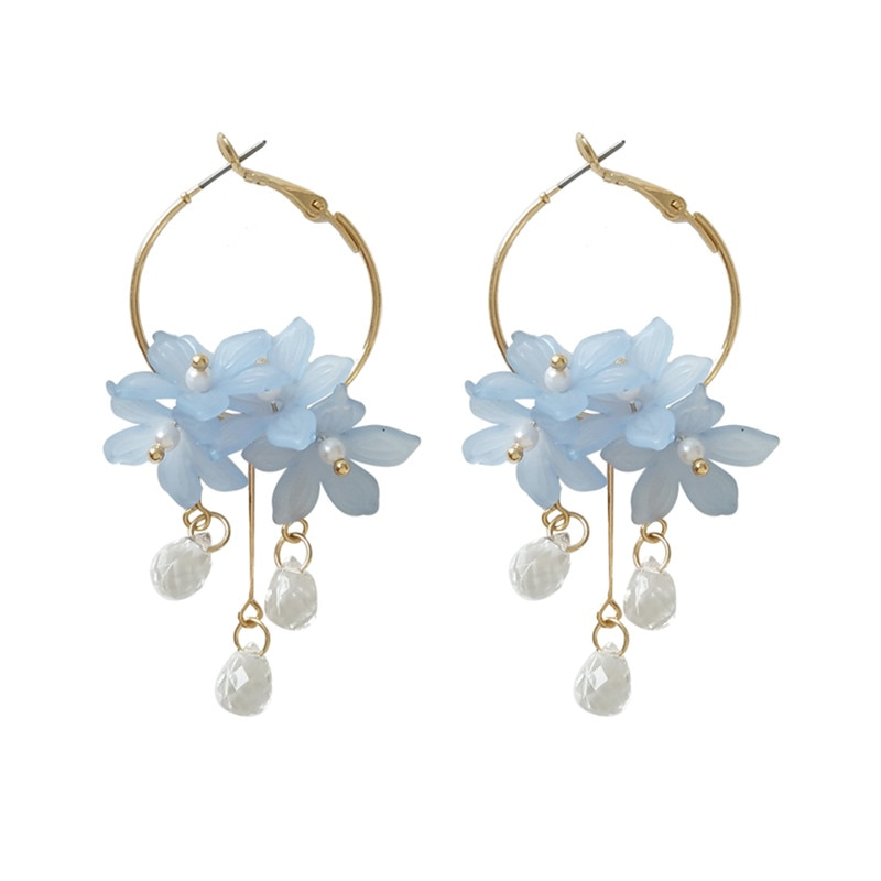 Acrylic Water Drop Crystal Flower Earrings