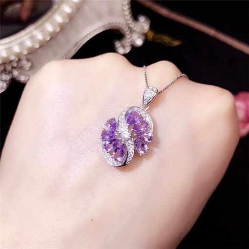 925 Sterling Silver Fine Natural Amethyst Set For Women