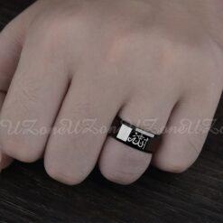 Black Stainless Steel Allah Ring