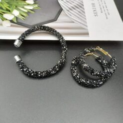 Crystal Bangle & Earrings Set Jewelry