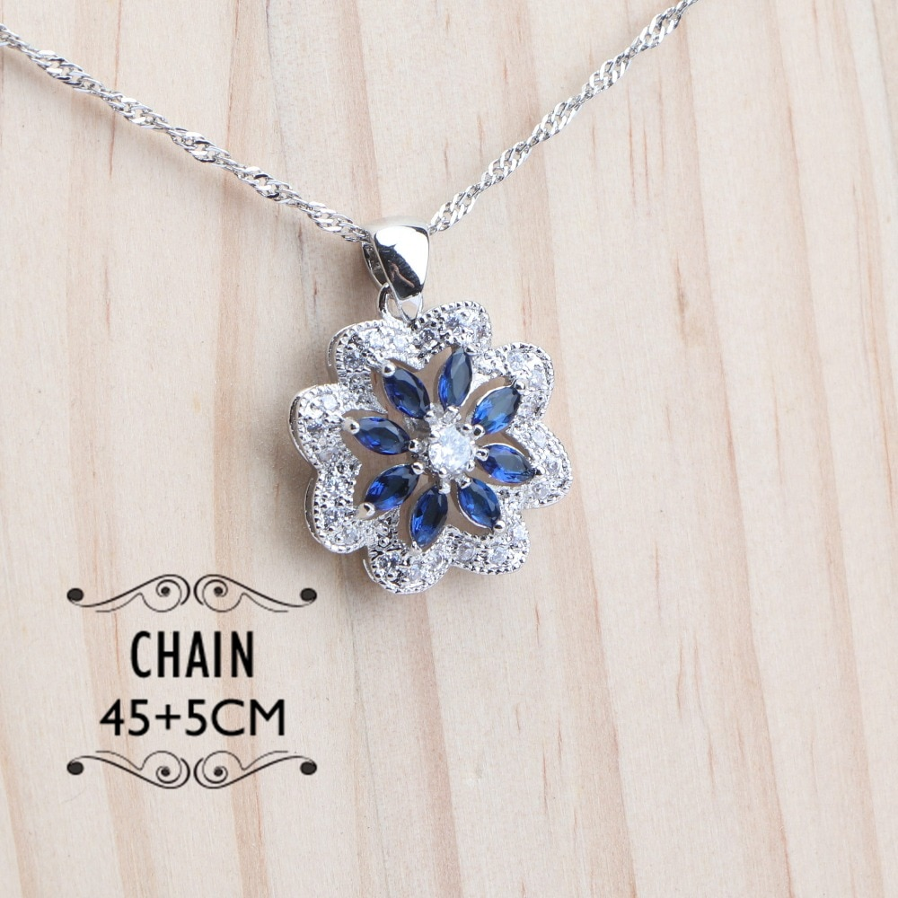 Silver 925 Flower Blue Zircon Jewelry Set