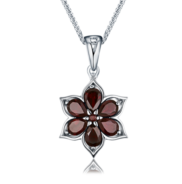 Natural gemstone black garnet 925 sterling silver small flower