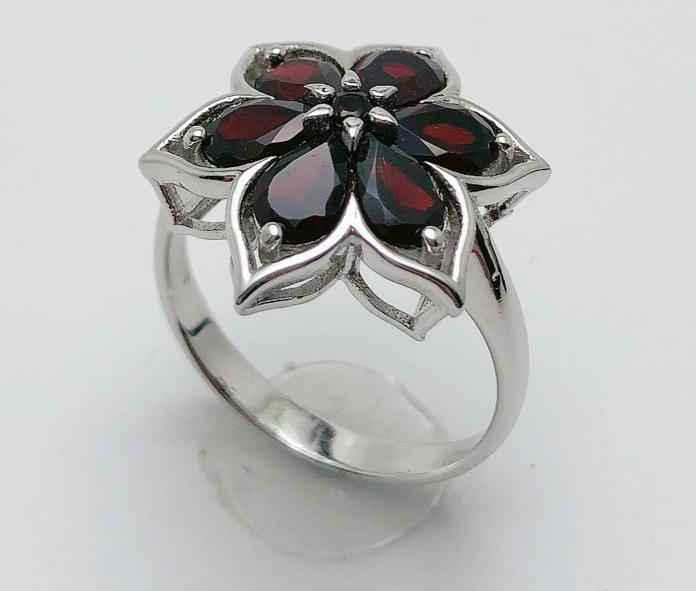 Natural gemstone black garnet 925 sterling silver small flower