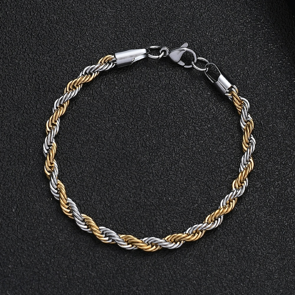 Stainless Steel Plated Gold Twist Chain Bracelet