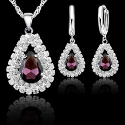 925 Sterling Silver water drop Jewelry Set