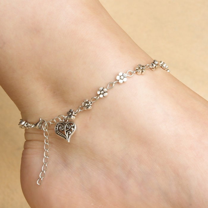 Tibetan Anklet in Silver Color
