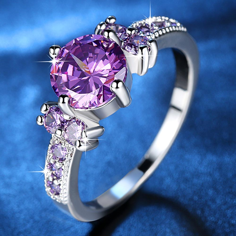 Blue Round Zirconia Ring