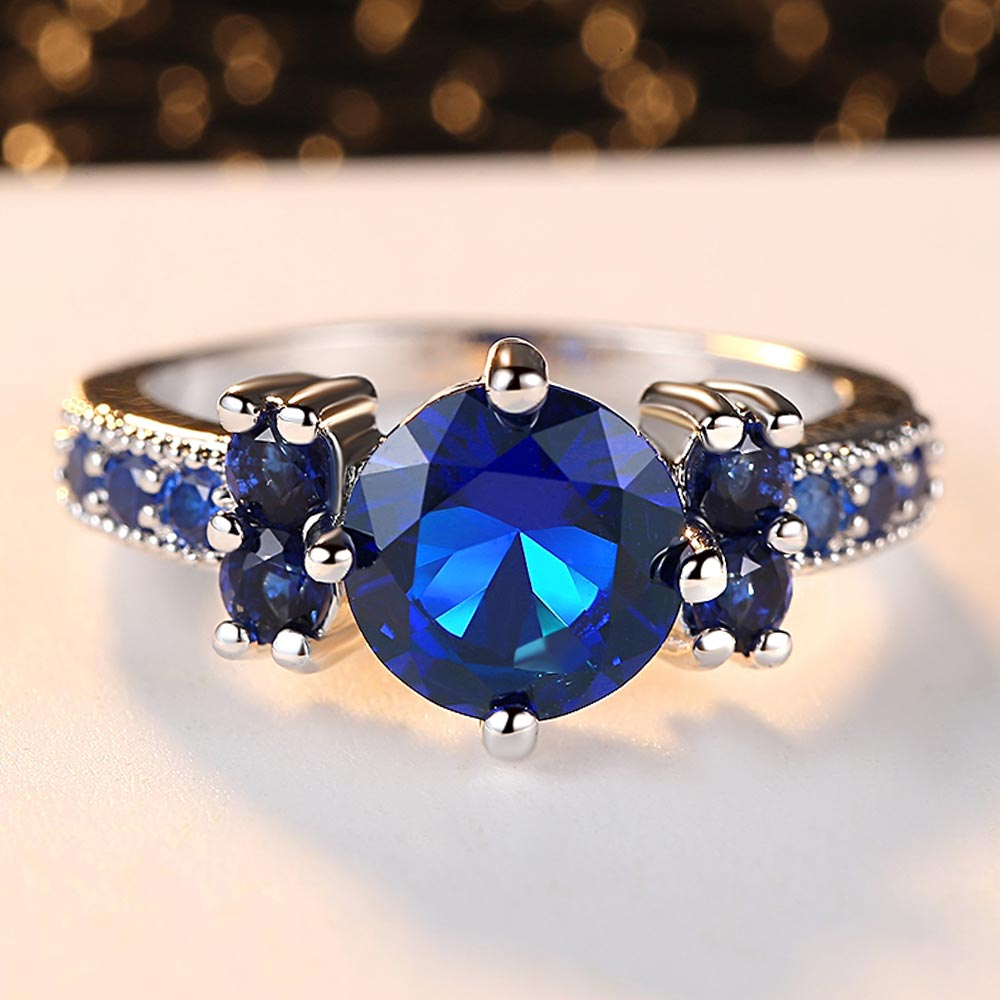 Blue Round Zirconia Ring