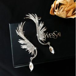 Angel wings with Hanging Rhinestone Earrings (Prevent Allergy) 1