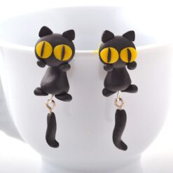 Vinyl Handmade Polymer Clay Cat Stud Earrings 2