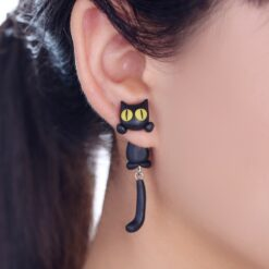Vinyl Handmade Polymer Clay Cat Stud Earrings 1