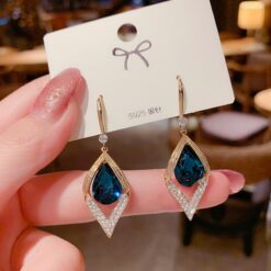 Rhinestone Geometric Blue Crystal Earrings  1