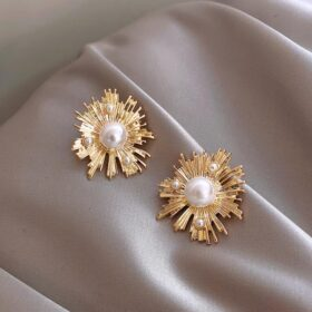 Rose Gold Color Simulated Pearl Stud Earrings  2