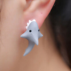 Cute Polymer Clay Shark Earrings 1