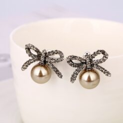 Bow Rhinestone & Inlaid Imitation Pearl Earrings  1