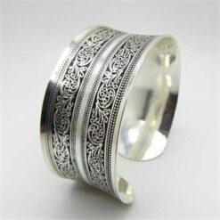 Silver Plated Carved Statement bangle 2